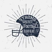American Football retro helmet label with inspirational quote text - Strong Stock Illustration