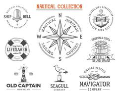 Vintage nautical stamps set. Old ship retro style. Sailing labels, emblems Piirros