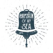 Retro ship bell tee design. Vintage sea label. Vector Nautical emblem with Stock Illustration