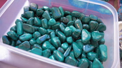 Beautiful green stone malachite. Shiny and smooth, with streaks Stock Footage