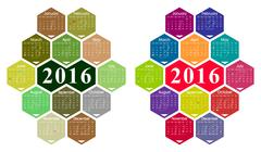 Vector 2016 calendar - stock illustration