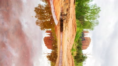 Time Lapse of Cathedral Rock over Reflecting Pond in Sedona, Arizona -Vertical- Stock Footage