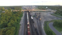 Aerial view of Trains on train tracks - stock footage