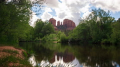 MoCo Tracking Time Lapse of Cathedral Rock & Reflecting River in Sedona Zoom Out Stock Footage