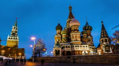 Saint Basil Cathedral in Moscow at night Stock Footage