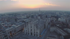 Duomo (church) Milan, Aerial shot Stock Footage