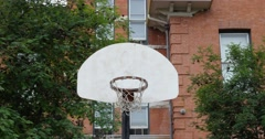 Basketball Court in urban area. Stock Footage