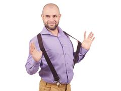 Funny arrogant bald man with a beard. Stock Photos