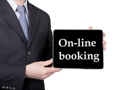 Technology, internet and networking in tourism concept - businessman holding a Stock Photos