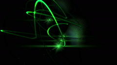 Intro with green light streaks and lens flares on a dark backround - stock footage