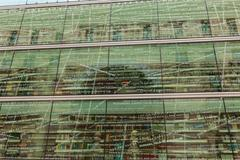 Glassy facade of the modern library in Bilbao, Spain Stock Photos