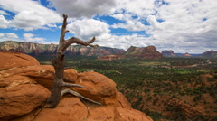 MoCo Tracking Time Lapse of Panoramic View atop Airport Mesa in Sedona -Zoom In- - stock footage