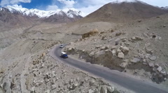 Aerial view of road in Himalayas mountain highway. Ladakh, India. Stock Footage