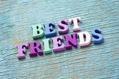 Best friends phrase on vintage wooden background - stock photo