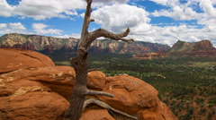 MoCo Tracking Time Lapse of Panoramic View atop Airport Mesa in Sedona Long Shot Stock Footage