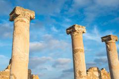 Ancient columns. Paphos, Cyprus. Kato Paphos Archaeological Park Stock Photos