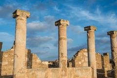 Ancient columns. Paphos, Cyprus. Kato Paphos Archaeological Park - stock photo