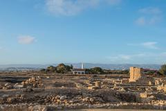 Paphos Archaeological park in the light of the evening sun, Cyprus Stock Photos