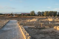 Paphos Archaeological park in the light of the evening sun, Cyprus - stock photo