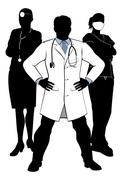 Doctors and Nurses Medical Team Silhouettes Piirros