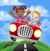 Cartoon Girls Driving Car Stock Illustration