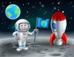 Cartoon Astronaut and Rocket on the Moon - stock illustration