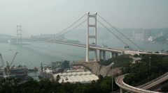 Panning shot of Tsing Ma Bridge Stock Footage