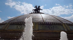 """Fountain """"World Clock"""" in Moscow near the Kremlin in background of a sun Stock Footage"""