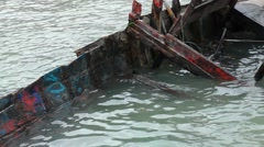 Wreck boat in water Stock Footage