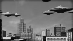 Vintage Alien Invasion: UFO Armada over the city (Black and White) Stock Footage