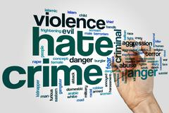 Hate crime word cloud Stock Illustration