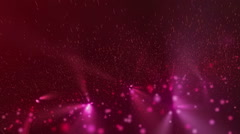 Abstract animation of moving red glowing spheres and particles Stock Footage