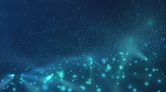 Abstract animation of moving blue glowing spheres and particles Stock Footage