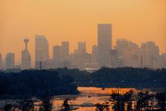 Calgary skyline silhouette in Alberta, Canada. - stock photo