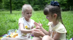 Young Girls Playing clap hands, Friends in the park picnic Stock Footage