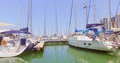 June 2016, Herzliya, Israel. The white luxury yacht on the Mediterranean sea. Stock Footage