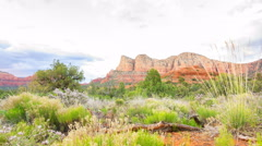 MoCo Tracking Time Lapse of Sunset Glow on Mesas in Sedona, Arizona -Zoom Out- Stock Footage