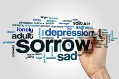 Sorrow word cloud concept Stock Illustration