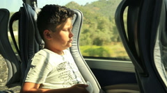Child on the bus - stock footage