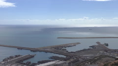 Morocco city of Agadir harbour aerial view Stock Footage