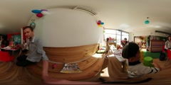 360Vr Video Kids Parents at Party Kindergarten Children's Day in Opole Eating - stock footage