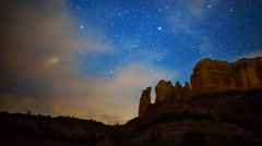 Astro Time Lapse of Stars over Cathedral Rock in Sedona, Arizona -Pan Right- Stock Footage