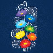 Glowing Chakras lotuses - stock illustration