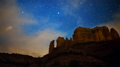 Astro Time Lapse of Stars over Cathedral Rock in Sedona, Arizona -Pan Left- - stock footage