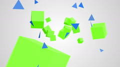 Animation of rotation green and blue cubes and triangles on a white backgroun Stock Footage