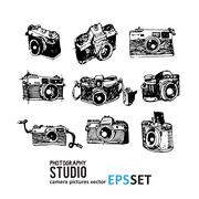 Camera photography vector set collection illustration. Logotypes Stock Illustration