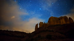 Astro Time Lapse of Stars over Cathedral Rock in Sedona, Arizona -Zoom In- - stock footage