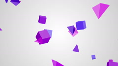Animation of rotation violet cubes and triangles on a white background Stock Footage