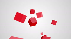 Animation of rotation red cubes on a white background Stock Footage