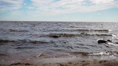 Baltic sea coast in summer day running waves Stock Footage